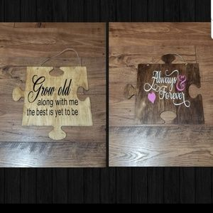 2 Wood Puzzle Piece Signs Love Theme